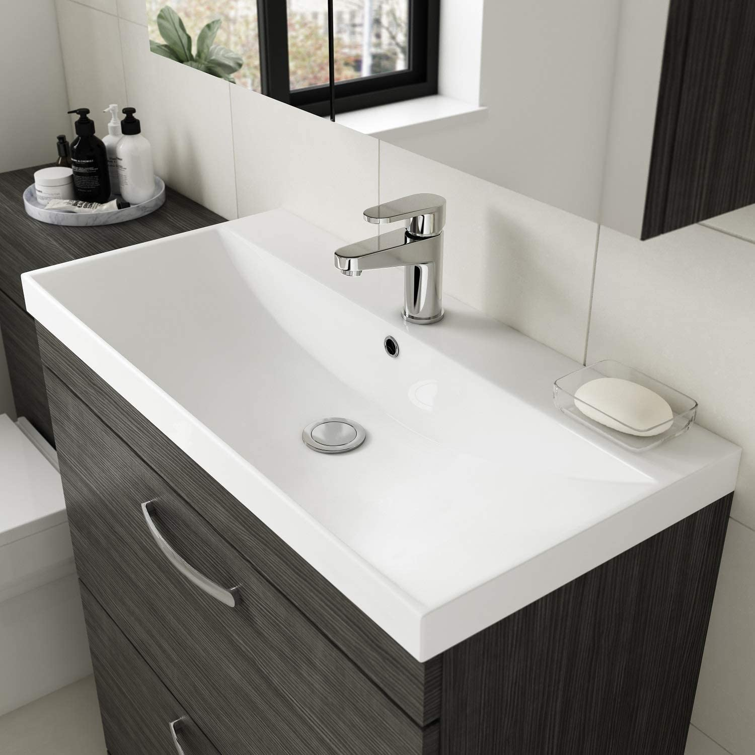 Nuie ATH050D Athena Modern Floor Standing Bathroom Vanity Sink Unit with Soft Close Drawers and Thin Edge Basin 800mm Driftwood