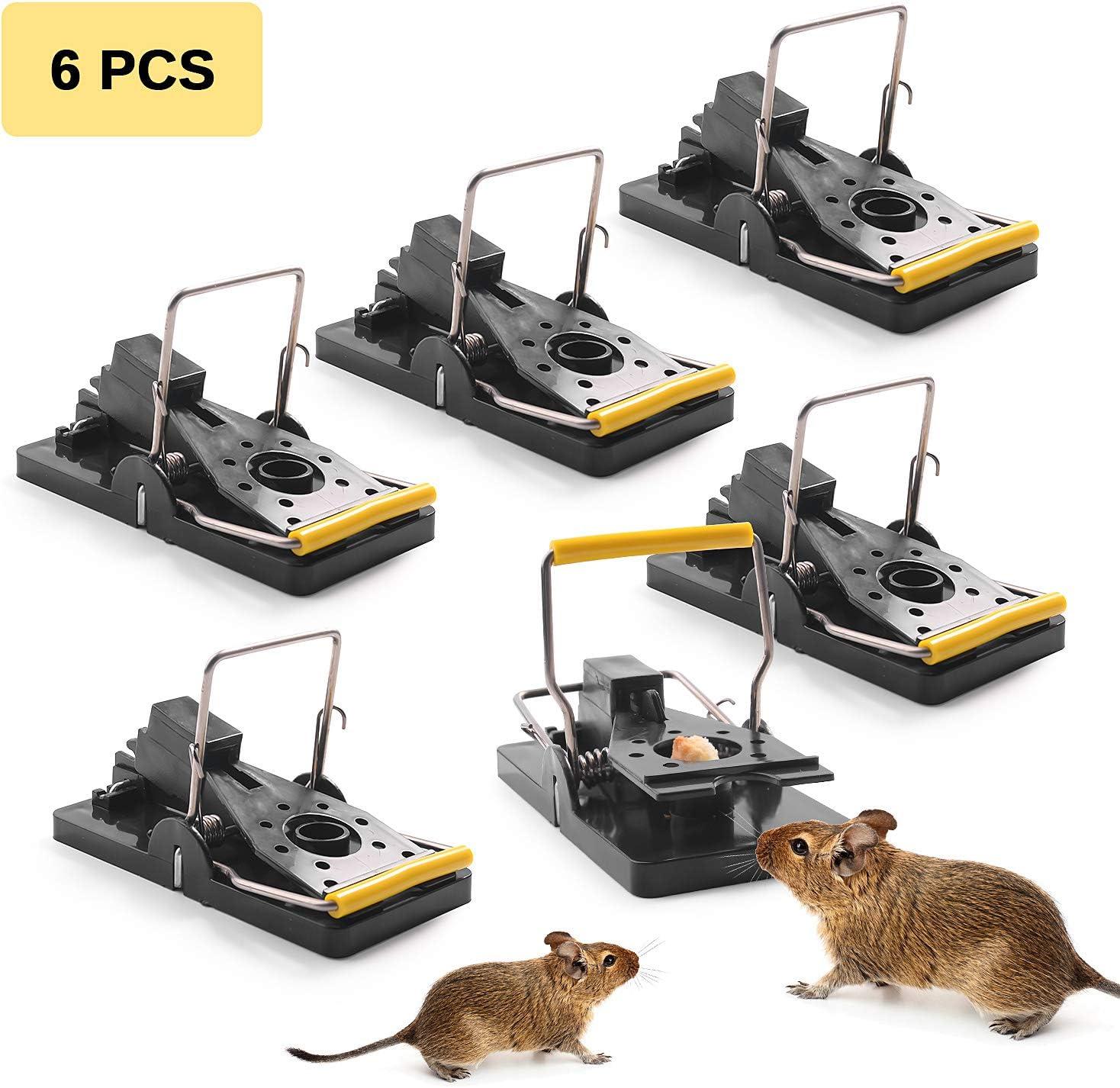 Herefun Trampa Ratones, 6 Piezas Trampa Reutilizable Ratas Ratoneras Trampa Ratas Trampas para Ratones Pequeños para Hogar Ático Garaje Cocina