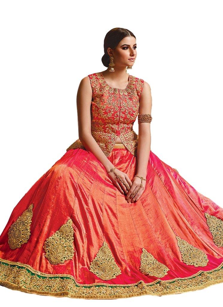 Ethnicwear Latest Designer Orange Art Silk Wedding Party Wear Embroidered Patch Border Work Lehenga Choli Chagara Choli by Ethnicwear