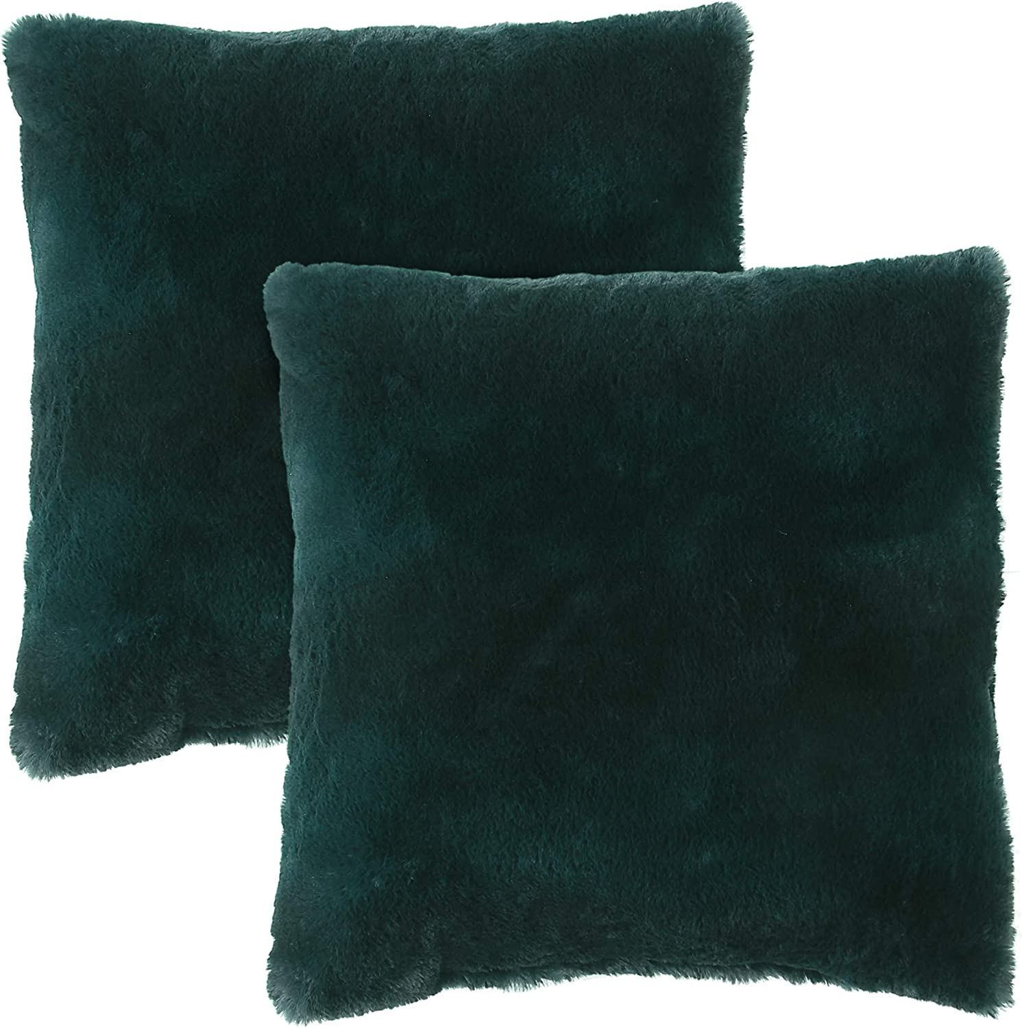 Morgan Home Fashions Decorative Faux Fur Throw Pillow Cushion Covers- 18 x 18 inches, Soft, Cozy and Warm, Home Decor with Multiple Colors Available to Match Most Styles and Blankets (Emerald, 2)