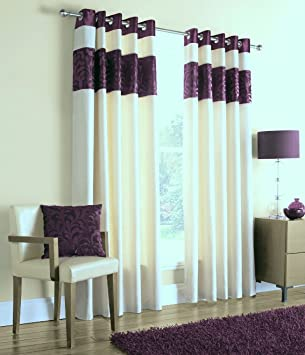 Green Curtains aubergine and green curtains : Lara Amethest Purple Aubergine Cream Eyelet 90