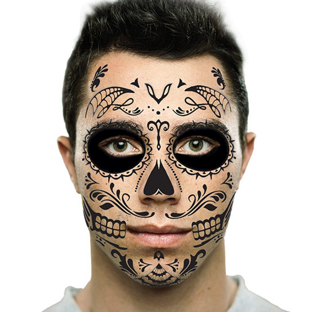 Amazon Com Black Web Sugar Skull Day Of The Dead Temporary Face Tattoo Kit Men Or Women 2 Kits Beauty