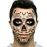 Amazon Price History:Black Web Sugar Skull Day of the Dead Temporary Face Tattoo Kit: Men or Women - 2 Kits