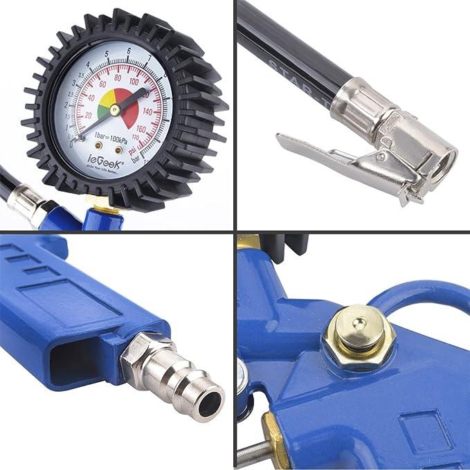 Manometro neumatico,Digital eléctrico inflador de neumáticos con manguera y manómetro para compresor de aire Para el automóvil y la motocicleta: Amazon.es: ...