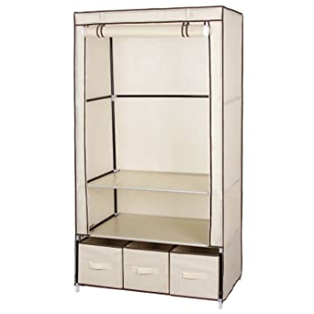 SONGMICS Double Canvas Wardrobe Clothes Storage Cupboard With 2 Shelves 3 Drawers 160 X 88