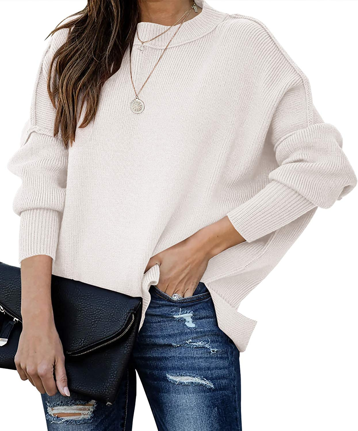 Max 84% OFF Seraih Womens Batwing Sleeve Pullover Side Split Oversized Solid low-pricing