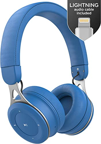 Wireless Headphones for Kids with iPhone Compatible Connector Apple MFi Certified Lightning Audio Cable – Lightweight Bluetooth Childrens Earphones, On Ear Adjustable Best Fit – Azure Blue