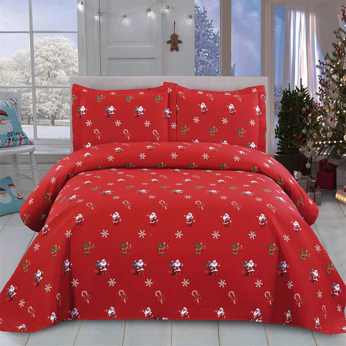 Lightweight Blanket Reversible Bed Cover 3D Cartoon Christmas Santa Claus Christmas Bedding Christmas Home Decor,Red