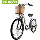 """NAKTO 26"""" 250W City-Electric Bicycle Sporting 6-Speed Gear E-Bike 36V 10A Lithium Battery-White"""