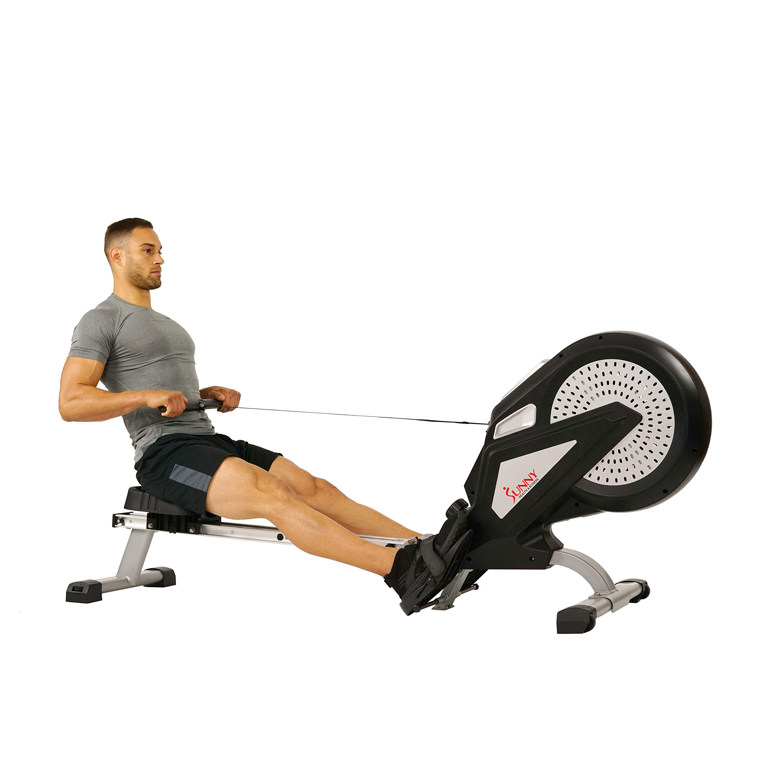 Sunny Health & Fitness Air Rower Rowing Machine w/ LCD Monitor, Dual Belt and Air Resistance SF-RW5623