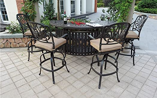 Theworldofpatio Elizabeth Cast Aluminum Powder Coated 5pc Party Bar Set with Party Bar Table – Antique Bronze