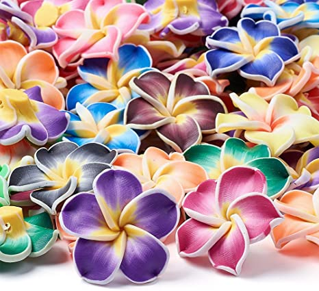 Craftdady 200PCS Mixed Color Handmade Polymer Fimo Clay 3D Flower Hawaiian Plumeria Beads Spacer Loose Beads for DIY Jewelry Making 12mm