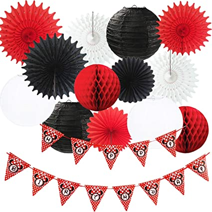 Amazon Com Minnie Mouse Party Decorations White Black Red Happy