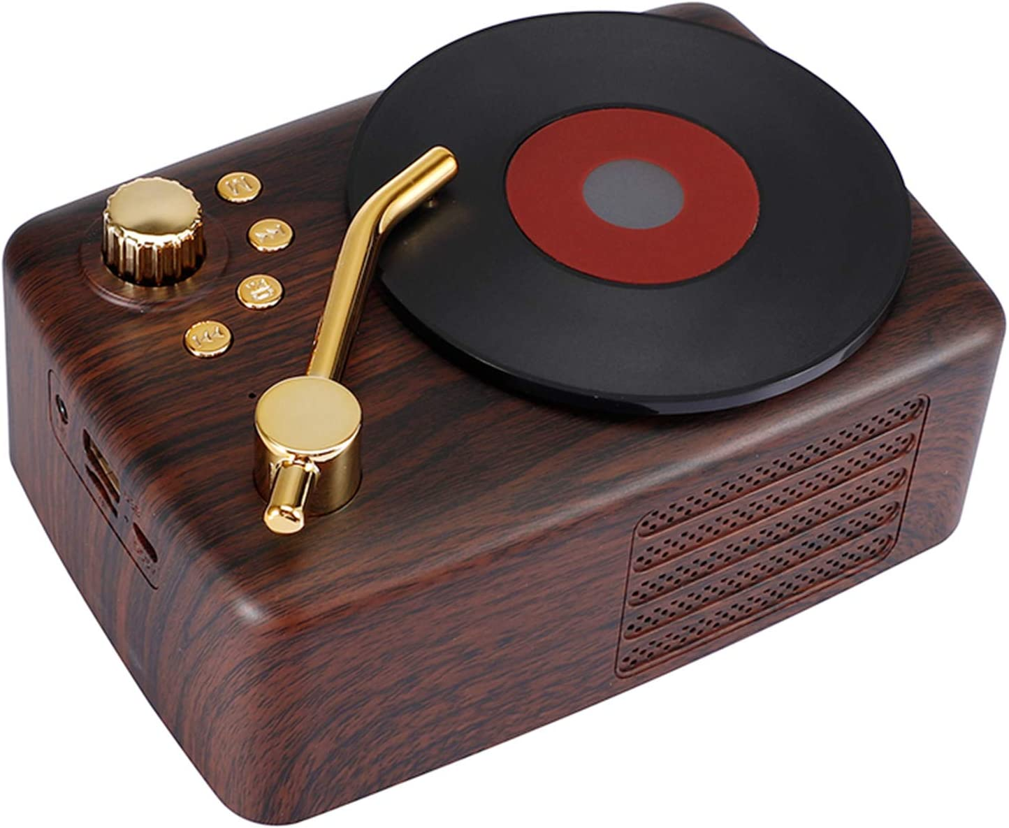 GOOG Portable Retro Bluetooth Speaker, with FM Radio, TF Card/U Disk/AUX Audio Input Old Fashioned Record Player Style Vintage Imitation Wood Wireless Bluetooth Speakers for Home, Outdoor Music Party