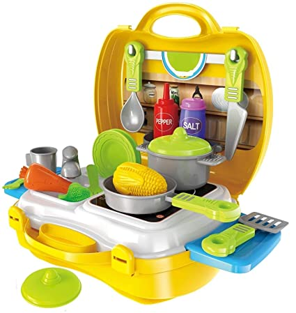eerlik latest pretend play carry along kitchen food play set for girls (w/o stickers)- Multi color