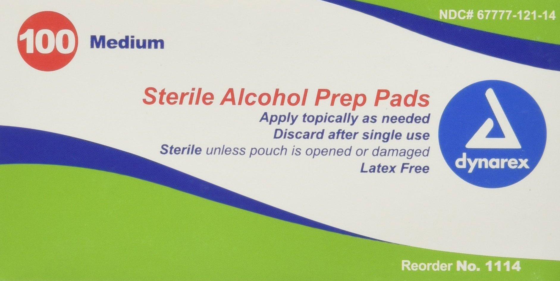 Dynarex Sterile Alcohol Prep Pad, Medium, 100 Count (Pack of 20)