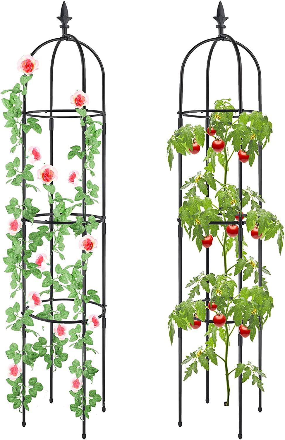 2Pcs Plant Cages and Supports, Deaunbr Tomato Cage Tall Plant Stakes Heavy Duty Garden Trellis for Indoor & Outdoor Plants, Climbing Plant, Tomatoes, Vegetables, Fruits, Flowers, Pots, Vines
