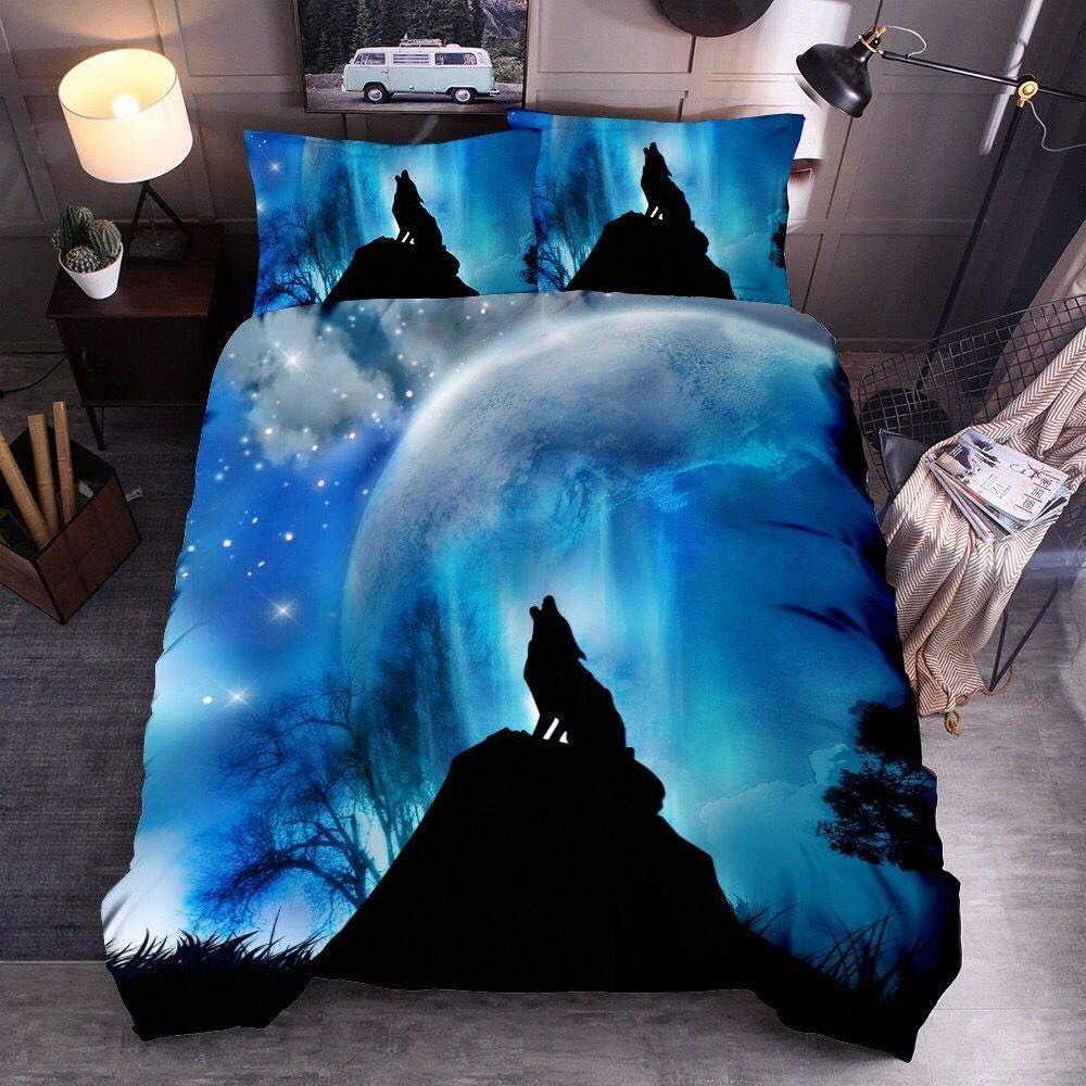 Parure de lit avec Housse de Couette Imprim/é Animal Effet 3D Loup Housse de Couette avec Taie doreiller Parure de lit Simple Double King Size Loup 01, 140 x 200 cm