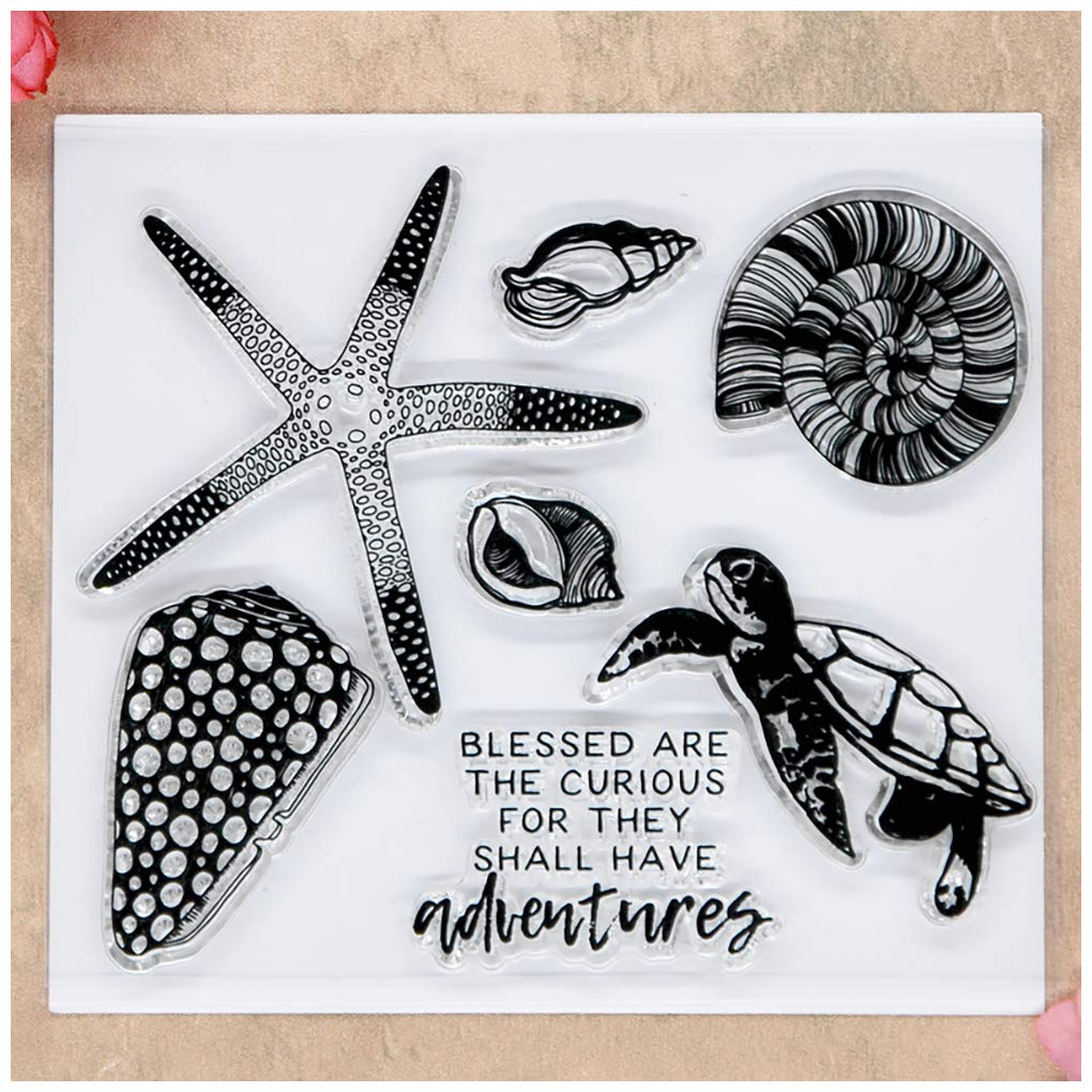Kwan Crafts Starfish Conch Turtle Clear Stamps for Card Making Decoration and DIY Scrapbooking