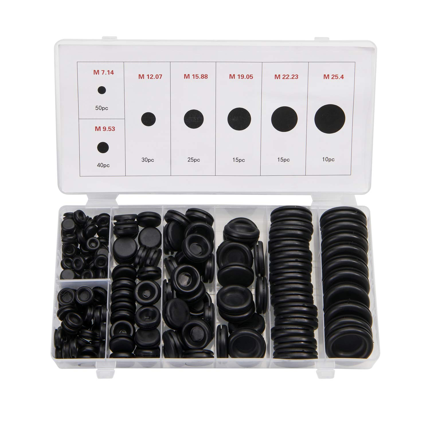 Busy-Corner 185pcs Closed Rubber Grommet Assortment,7 Sizes Electrical Wire Gasket Firewall Solid Hole Plugs Wire Gasket Assortment Kit for Wires,Cable,Wall Hole