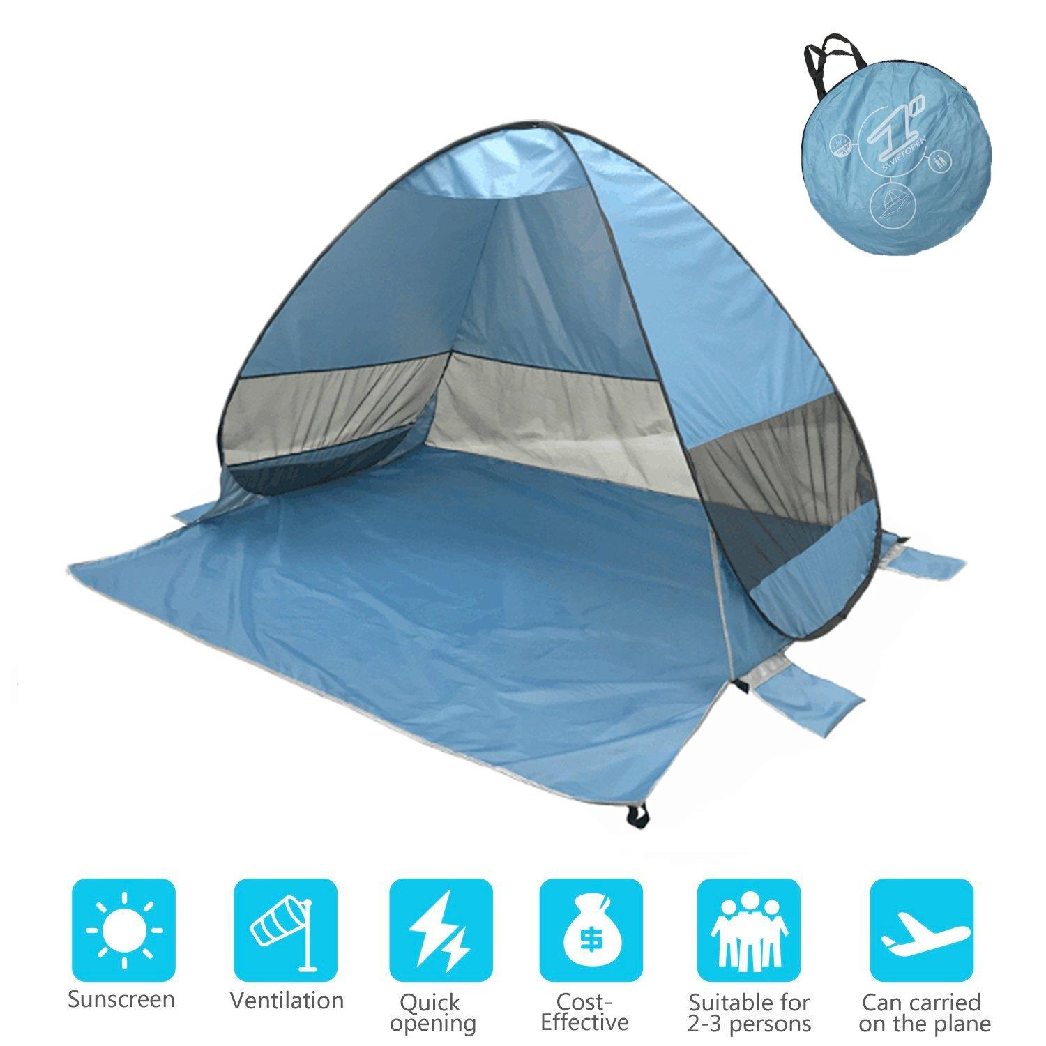 Onmiy Beach Tent Shade Anti UV Pop Up Tent For Outdoor Oversized Design 2-3 Person Lightweight Portable Cabana Sets up in Seconds