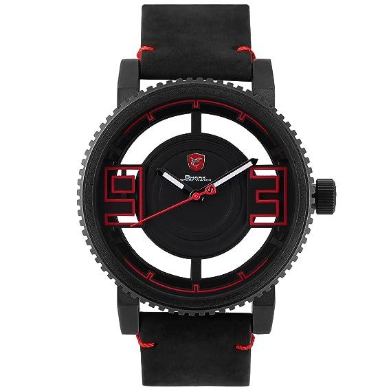 Shark SH452 Reloj Dial y Números en Hueco de Cuero de Caballo Loco Negro: Amazon.es: Relojes
