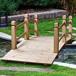 MAXXPRIME 5 ft Wooden Garden Bridge Arc Outdoor Natural Finish Footbridge with Safety Railings for Backyard, Decorative Pond Bridge, Natural Wood