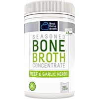 Beef Bone Broth Concentrate with Garlic Herbs - Rich in Collagen to help improve gut health, skin firmness and healthy hair - Great for keto and paleo - Grass Fed, Hormone Free