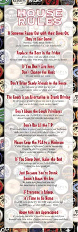 Amazon.com: Reglas de la casa cerveza College fiesta humor ...