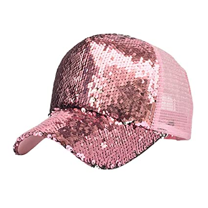 6bc24b55d4dce Amazon.com  Botrong Women Ponytail Baseball Cap Sequins Shiny Messy Bun  Snapback Hat Sun Caps (Pink)  Cell Phones   Accessories