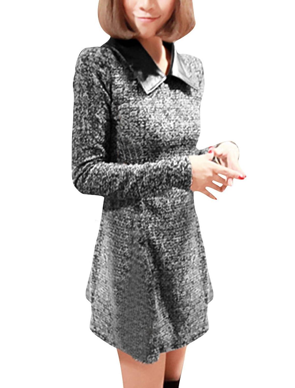 Ladies Doll Collar Contrast Color Texture Back Zip Slim Dress
