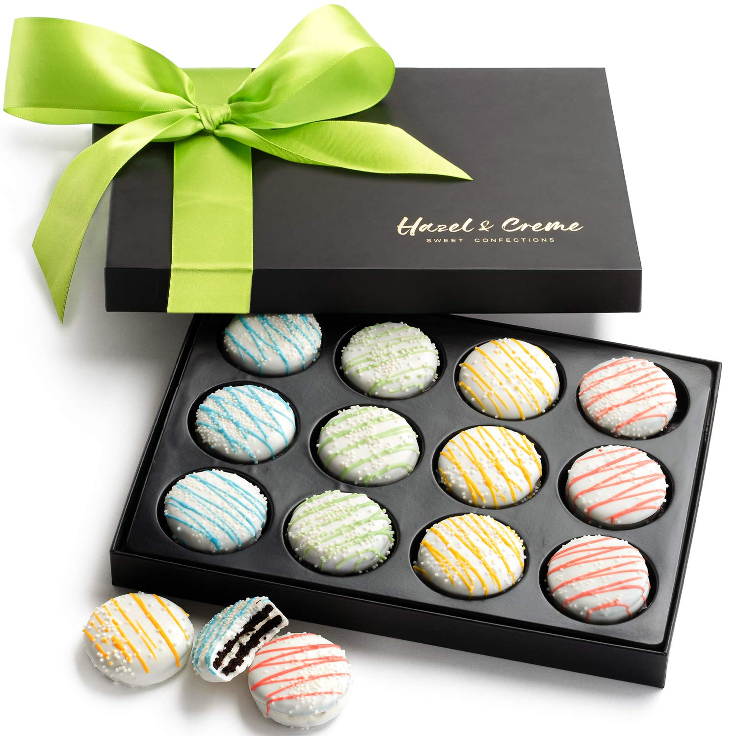 Hazel & Creme Chocolate Gift Box - Easter Designed Cookies - Spring White Chocolate Covered Cookies - Gourmet Birthday Food Gift Basket