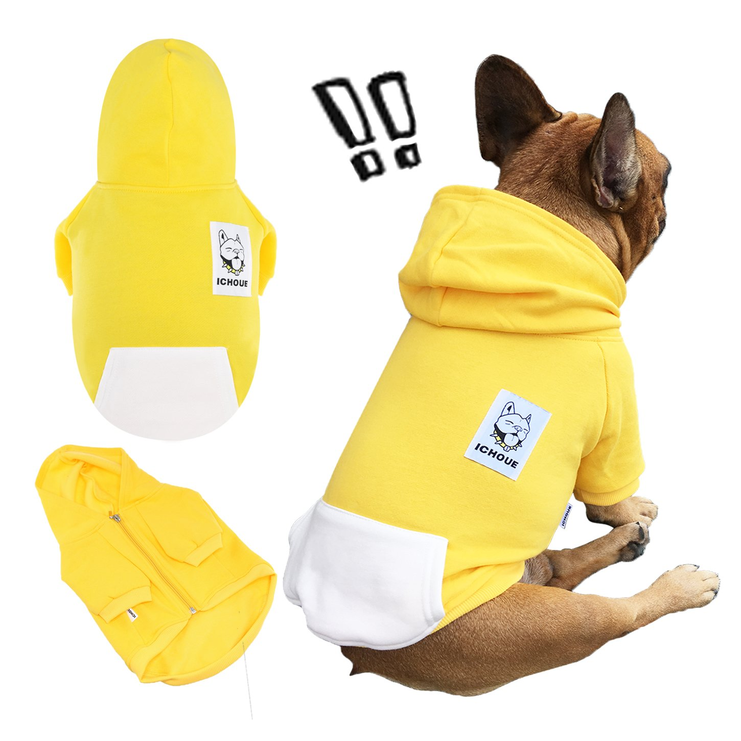 iChoue Pets Dog Clothes Hoodie Hooded French Bulldog Costume Pullover Cotton Winter Warm Coat Puppy Corgi Clothing - Yellow/Size XL