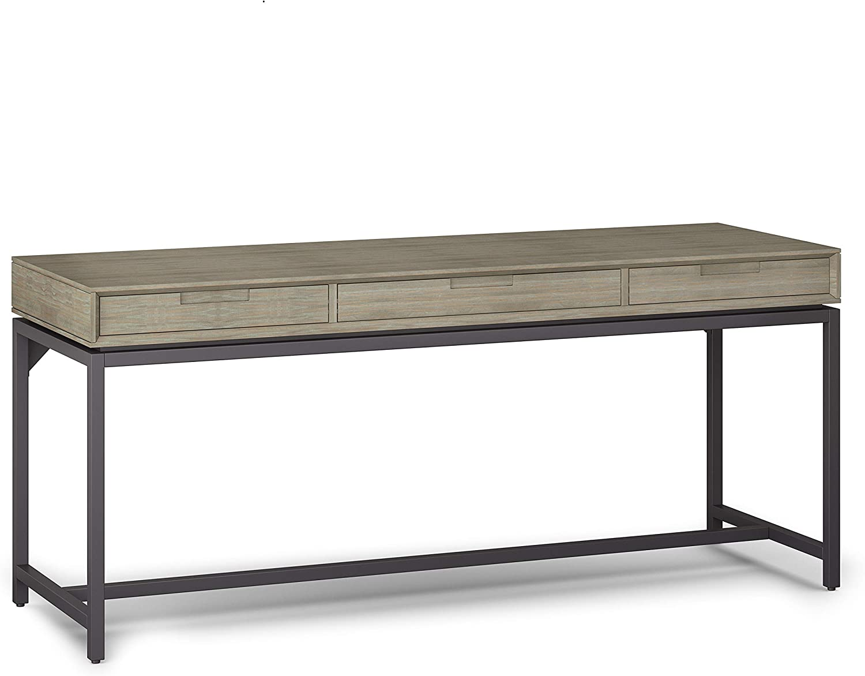 SIMPLIHOME Banting SOLID HARDWOOD Modern Industrial 72 inch Wide Wide Desk in Distressed Grey