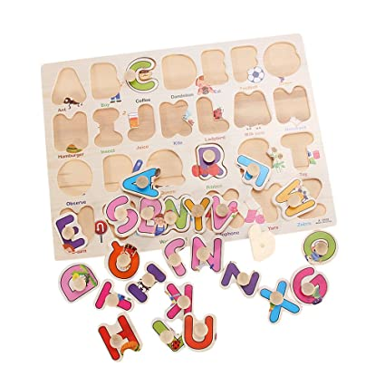 TOYMYTOY Wooden Alphabet Puzzle Bundle Board Educational Puzzle Bundle Board