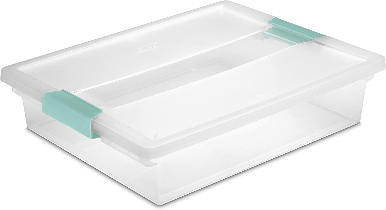 Clear Lid /& Base w//Colored Latches Sterilite Clip Box