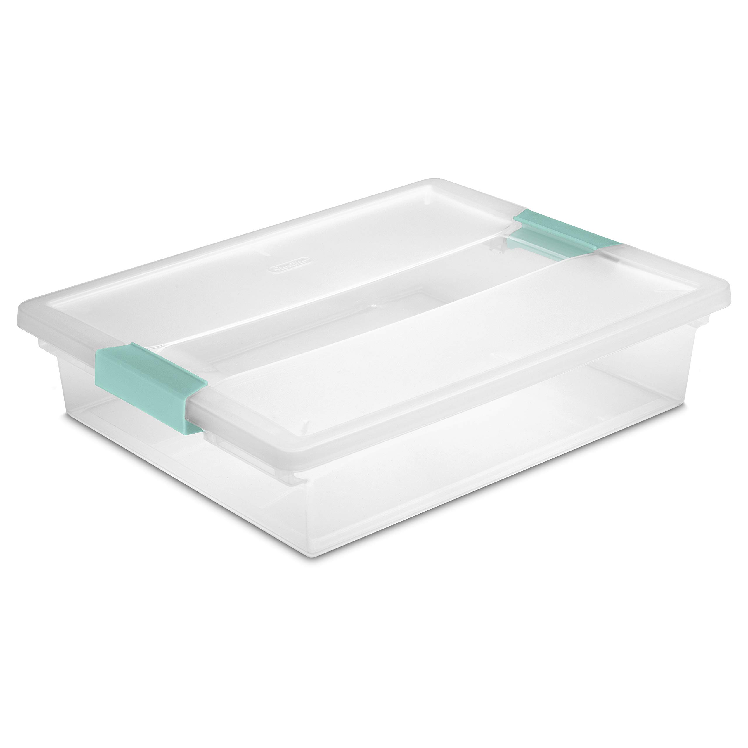 Sterilite 19638606 Large Clip Box, Clear with Blue Aquarium Latches, 6-Pack by STERILITE
