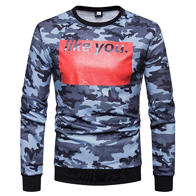 Amazon.com: Sunhusing Mens Camouflage Patchwork Letter Print Panel Long Sleeve Top Basic Tee Shirt: Clothing