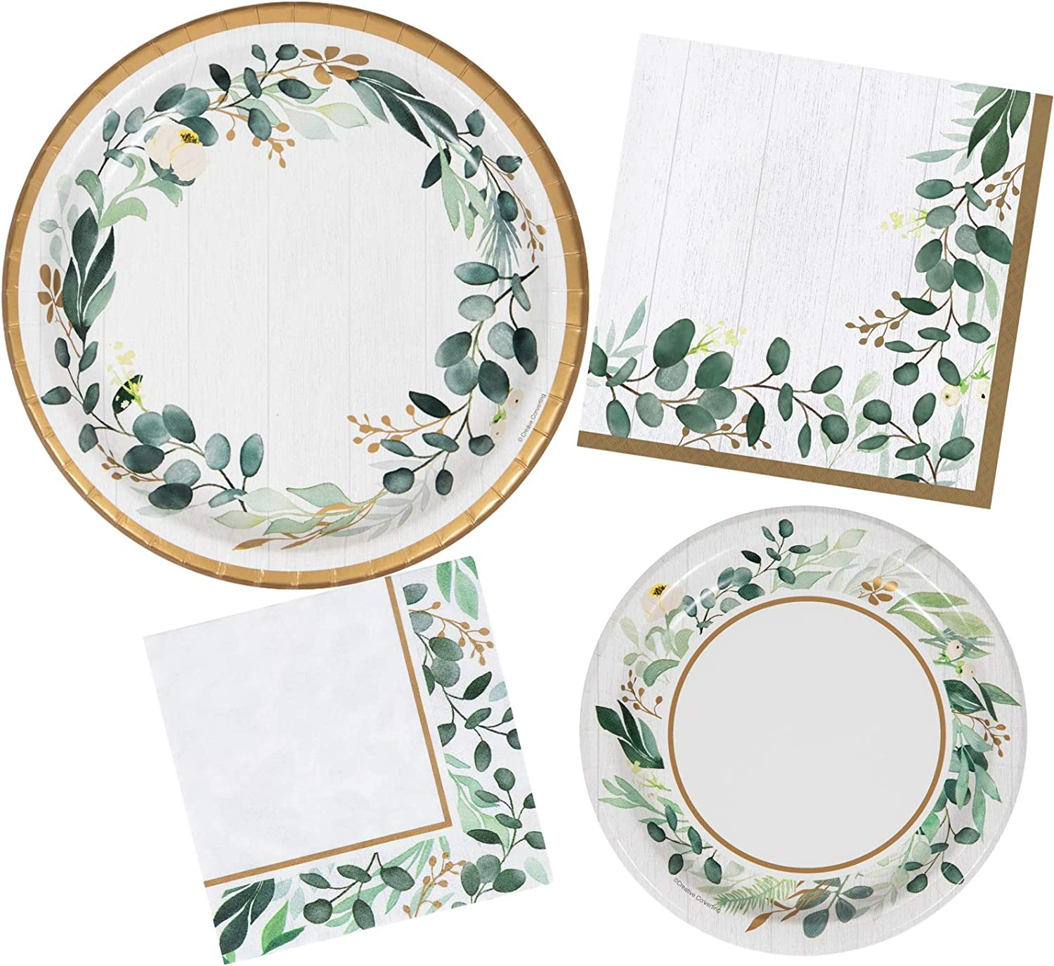 Eucalyptus Greens Party Dinnerware Bundle | Paper Plates and Napkins for 8 People | Rustic Wedding Decorations, Garden Theme Tea Party Supplies, Bridal Shower or Birthday Party Décor