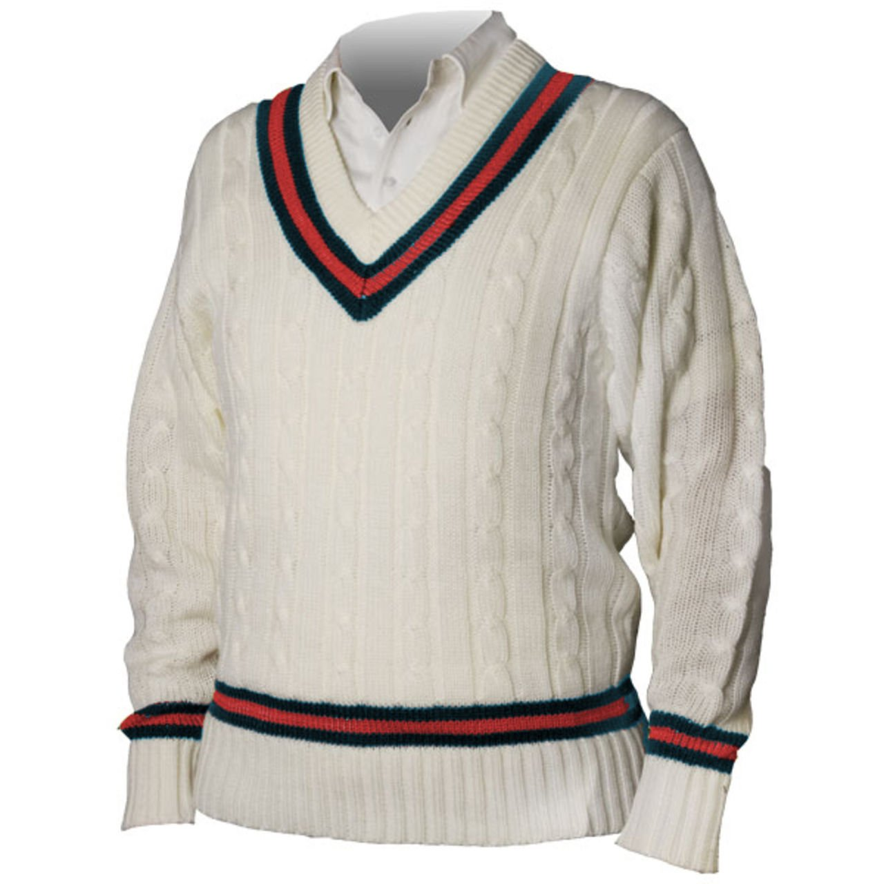1960s Men's Sweaters Cricket Full Sleeve Sweater Acrylic Navy/Red $59.36 AT vintagedancer.com