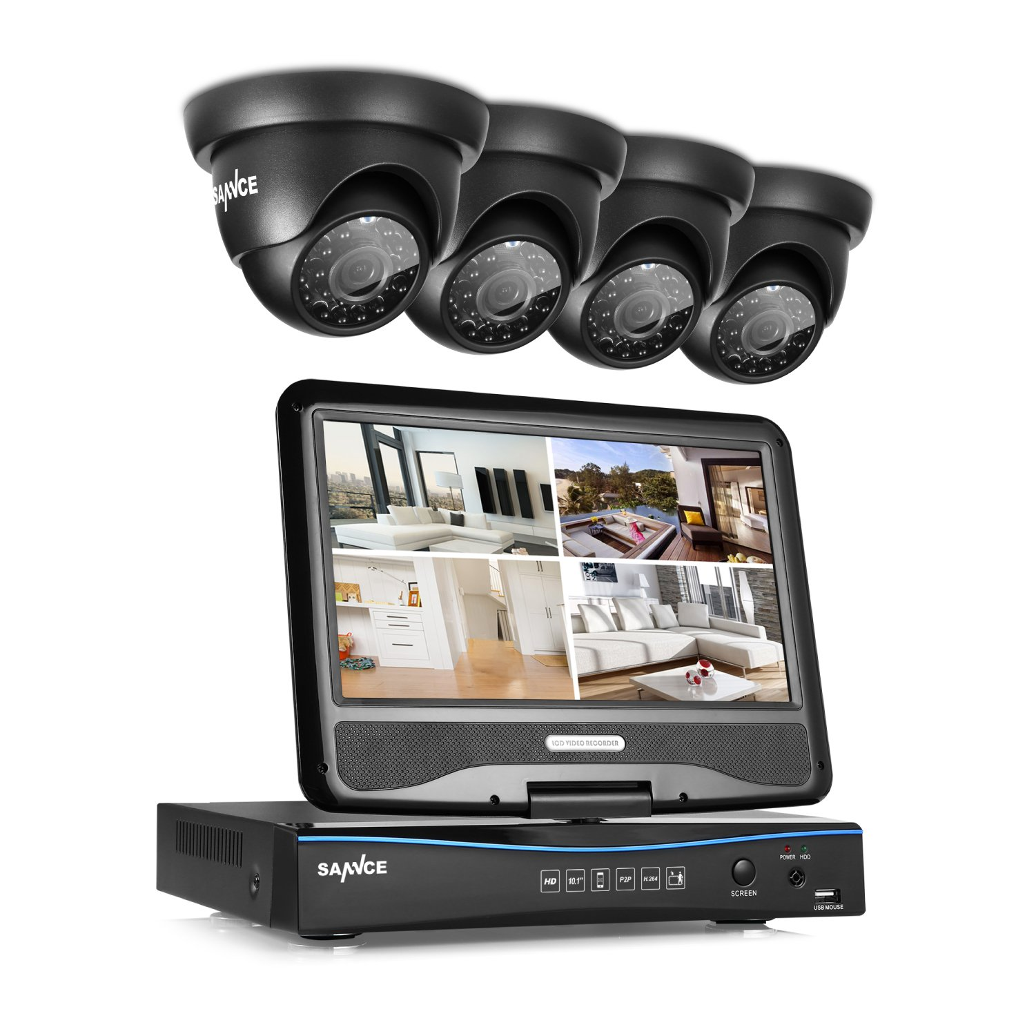 Sannce 8CH 720P Security DVR with Build-in 10.1'' LCD Monitor and (4) 1.0MP Surveillance Wired Cameras, Email Alerts P2P Cloud Mobile Phone Remote View (NO HDD)