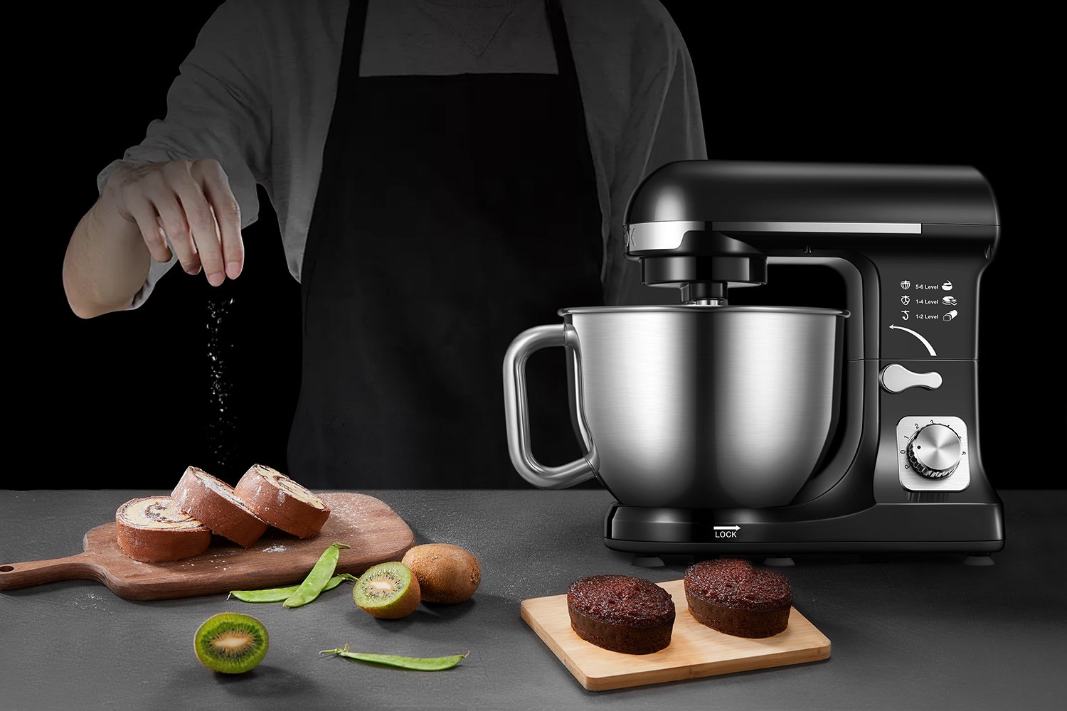 Stand Mixer, Aicok Dough Mixer with 5 Qt Stainless Steel Bowl, 500W 6 Speeds Tilt-Head Food Mixer, Kitchen Electric Mixer with Double Dough Hooks, Whisk, Beater, Pouring Shield, Black by AICOK (Image #7)