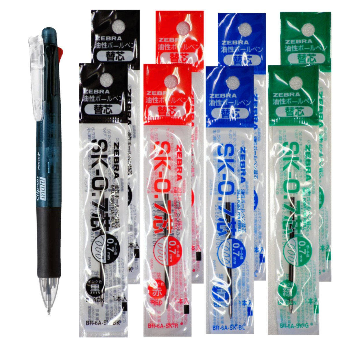 Zebra B4SA-1 Clip-on multi 0.7mm Multifunctional Pen, Black Body & 4 Color(Black/Blue/Red/Green) Refills 8 Total Value Set