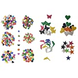Kochartz Glitter EVA Foam 340-Piece Self Adhesive Stickers for Art and Craft Decoration (Multicolour)