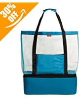Mesh Beach Bag By Page One,Beach Tote Bag With Romovable Picnic Cooler