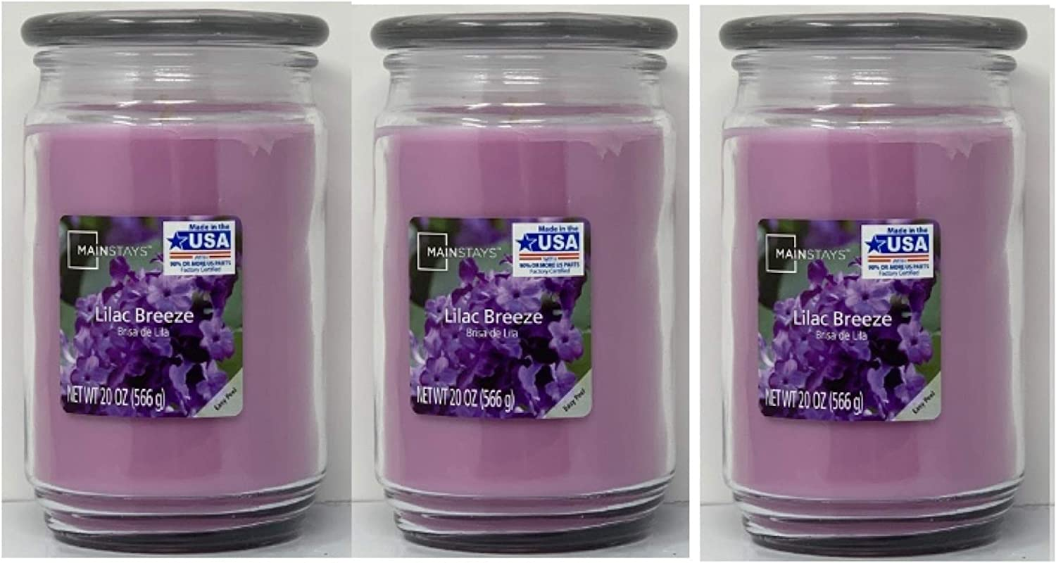 Mainstays 20oz Lilac Breeze Scented Candles, 3-Pack