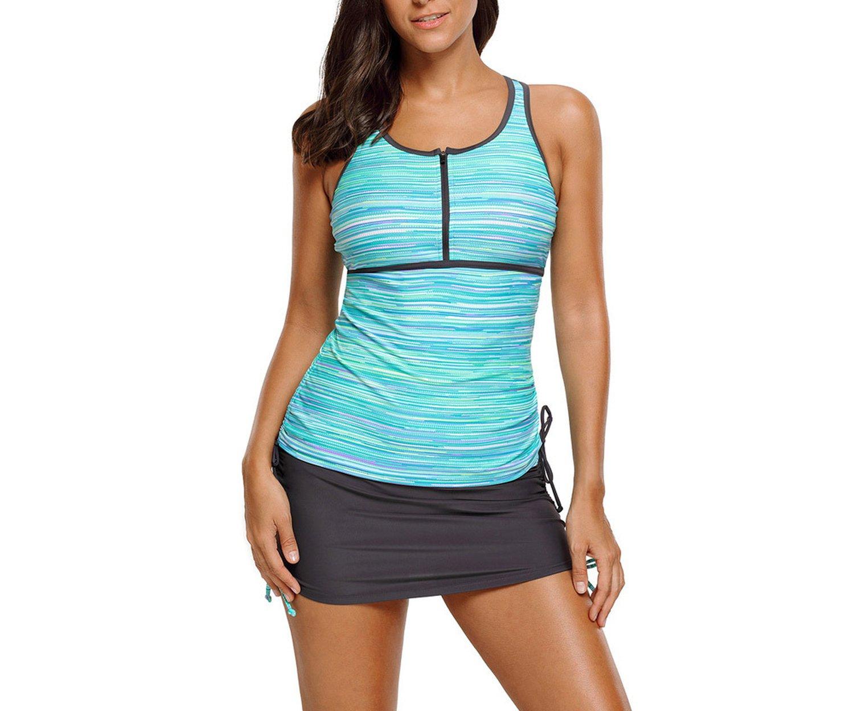 Noon-Sunshine Swimwear XL Bikini Round Neck Sleeveless Low Waist Conservative Split Swimsuit 410455,Green,XL by Noon-Sunshine