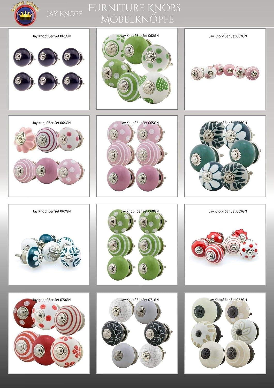 056GN Noir Blanc multicolore tiroir en porcelaine poign/ées meuble Jay Knopf Boutons de Meuble C/éramique Assortiment 6 pi/èces No