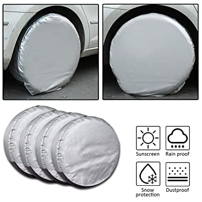 Set of 4 Tire Covers,Tire Covers for RV Auto Truck Car Camper Trailer Waterproof Sun-Proof Weatherproof Tire Protectors(Fits 24-26 Inch): Automotive