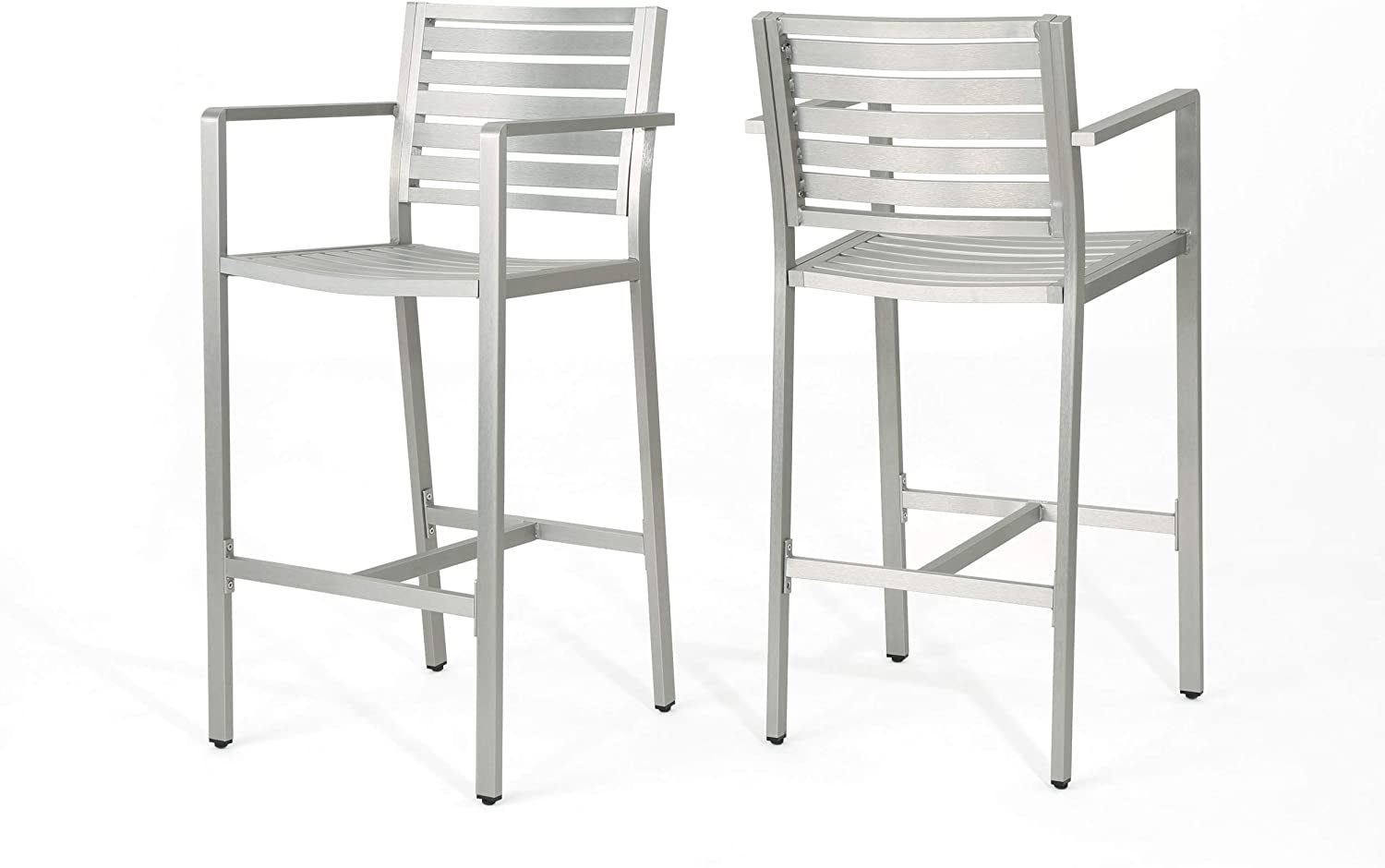 Christopher Knight Home Tammy Coral Outdoor Silver Rust-Proof Aluminum 29.50 Inch Barstools (Set Of 2)